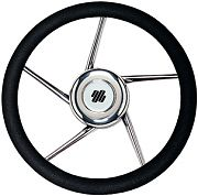 "Uflex V01 13.8"" Polyurethane 5 Spoke Stainless Steel Steering Wheel"