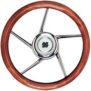 "Uflex V05 13.8"" Mahogany 5 Spoke Stainless Steel Steering Wheel"