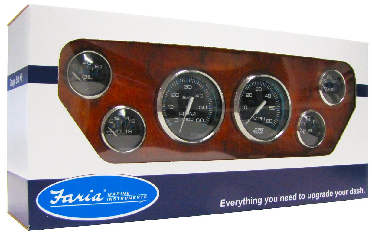 faria cheaspeake ss white 4 gauge set with gps speedometer