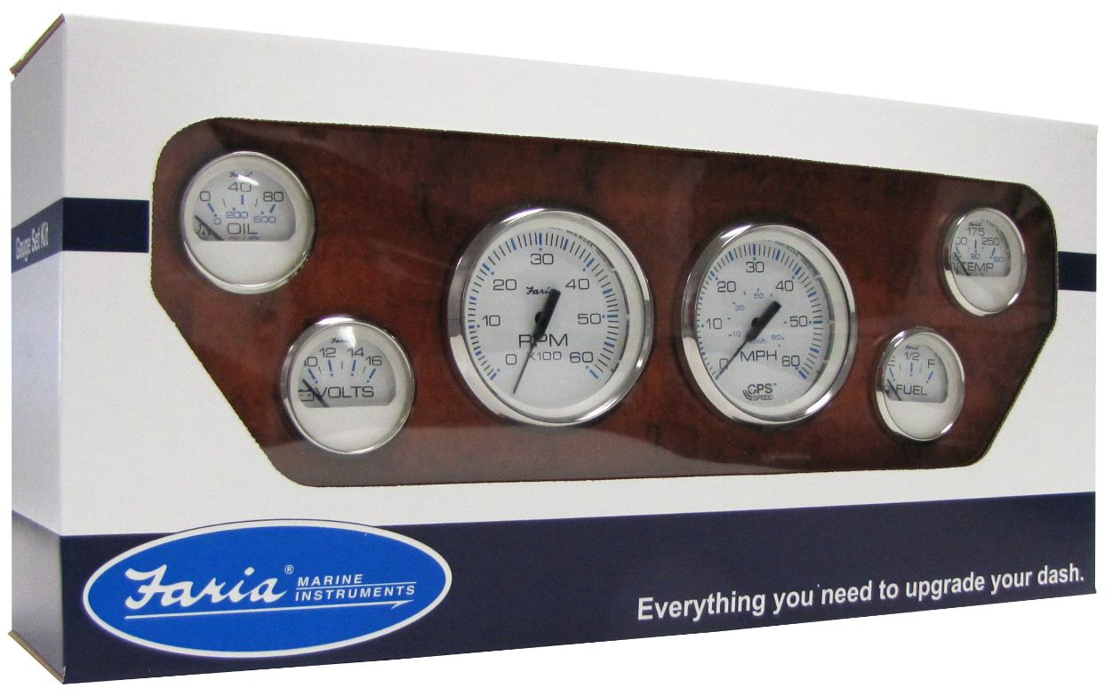 Faria Coral Gauges Wiring Diagram Electrical Diagrams Chesapeake Ss White 6 Gauge Set With Gps Speedometer Instruments