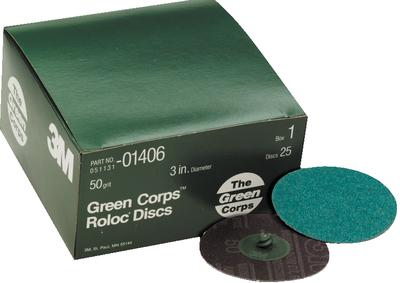 36YF Grit 25 discs per box 3M™ 01407 Green Corps™ Roloc™ Disc 3M 1407 3 inch