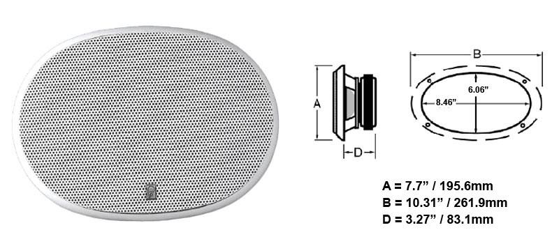 Polyplanar Ma 6900 Speaker White 6x9 Oval Flush Mount Poly Planar