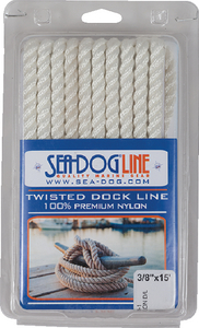 "DOUBLE BRAID DOCK LINE  3//8/"" X 15FT SEACHOICE 42401 WHITE WITH BLACK TRACER EACH"
